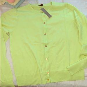 NWT jcrew bright yellow merino wool cardigan